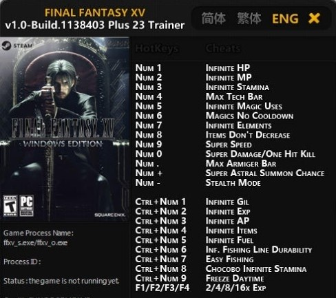Final Fantasy XV Trainer, Cheats For PC Download