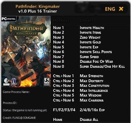 Pathfinder Kingmaker Trainer